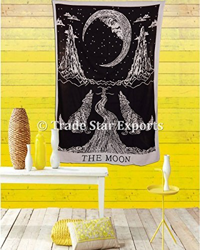 urban-moon-tapestry-crying-wolf-bedding-single-indian-wall-hanging-cotton-hippie-throw-bohemian-dorm