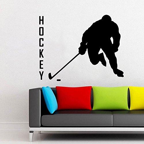zqyjhkou Hockey Player Vinyl Aufkleber Sport Silhouette Aufkleber Home Interior Dekorationen NHL Art Teen Kinder Jungen Room Wall Decor A334 57x45cm (Etiketten Bad Bomben)