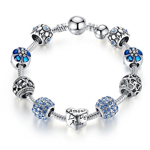 A TE® Armband Charms Amor Love Herz Beads Damen Geschenk #JW-B171 (Blau 18cm)