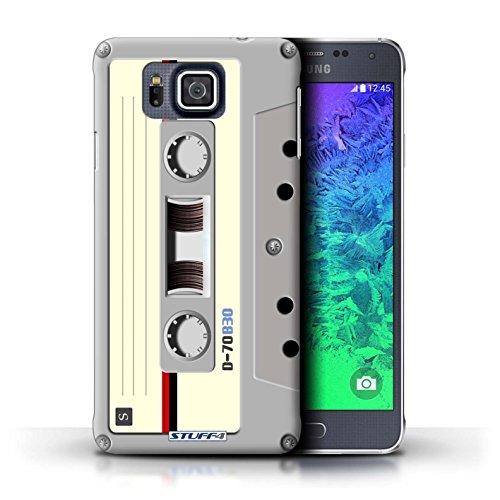 Kobalt® Imprimé Etui / Coque pour Samsung Galaxy Alpha / Compact Cassette Audio conception / Série Retro Tech Compact Cassette Audio