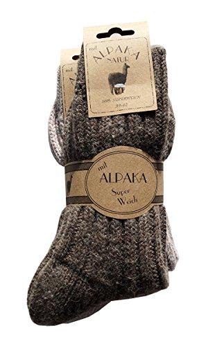 2 Paar Alpaka Socken Wollsocken besonders kuschelig warm für Sie&Ihn dunaro® (39-42,G/B)
