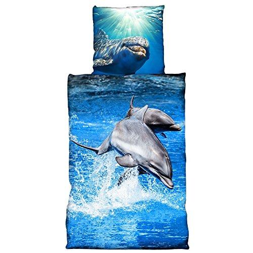 1stB 3D Digitaldruck Bettwäsche Delphin blau Baumwolle, Größe:135 cm x 200 cm