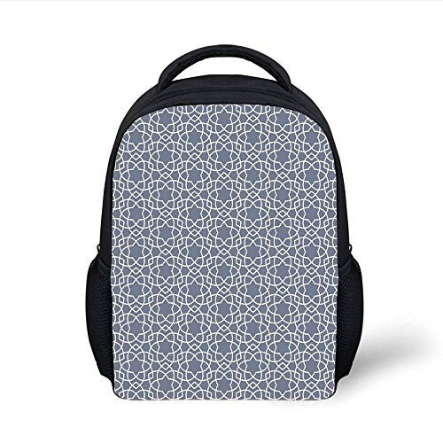 Kids School Backpack Geometric,Far East Asian Star Motif Vertical Pattern Curved Lines Japanese Culture Inspired,Grey White Plain Bookbag Travel Daypack -