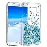 KOUYI Galaxy S7 Hülle Glitzer, Luxus Fließen Flüssig Glitzer Mode 3D Bling Cute Dynamisch Clear Transparent Silikon Weich Flexible TPU Bumper Cover Beschützer für Samsung Galaxy S7 (Silber Blau)
