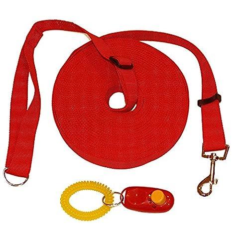 Laisse de dressage pour chien et clicker. Laisse longue de couleur noire 15m (50ft) pour dresser les animaux de compagnie avec guide d