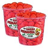 Haribo Primavera Erdbeeren Klein, Fruchtiger Schaumzucker, Süßwaren, 2er Pack (2x150 Stk)