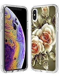 FAWUMAN Funda para iPhone XS MAX(6.5 Inch), Transparente [Anti-Choque] [Anti-arañazos] Silicona Suave TPU Bumper y Duro PC Dos en Uno Protectora Funda con Tarjeta de Dibujos Animados (Rosa)