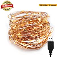 To Create a Festive and Romantic Atmosphere USB LED Light String is designed with 100 pcs warm white LED bulbs on 33 feet long copper wire. These dew drop shaped bulbs with high brightness are truly cute and adorable. Copper wire is clean, shiny and ...