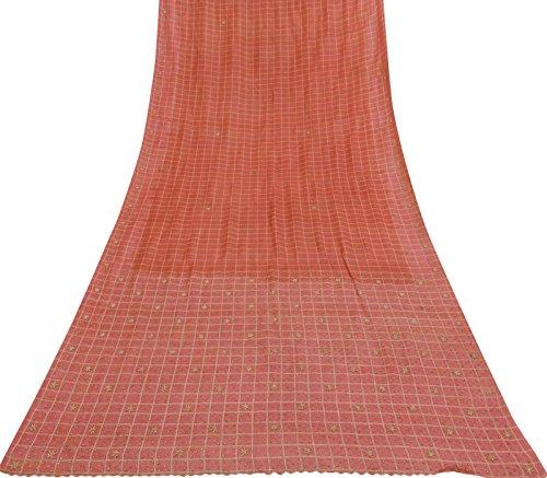 Vintage Indische Hand Wulstige Art Silk Pfirsich Saree Antike Fertigkeit Stoff Sari 5 Yds Art Silk Sari Saree