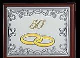 Caja Joyero 50° aniversario bodas GBG Linea Seven cm 11x 16x 4,5madera y Bi laminado plata Made in Italy