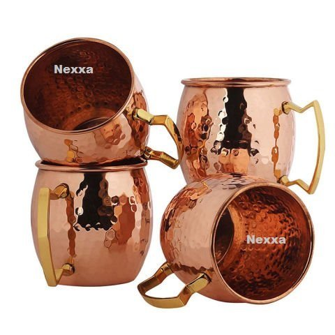 nexxa Moscow Mule Copper Cup (Set of 4 Bonnets) HAMMERED Copper Mug 600 ml 100% Solid Pure Copper 175 g approx