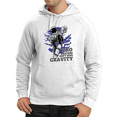 lepni.me Kapuzenpullover Pro Skaters Don\'t Need Gravity - Skateboard Sprüche, Skate Leben Zitate (X-Large Weiß Mehrfarben)