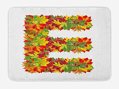 JIEKEIO Letter E Bath Mat, Chestnut Maple Leaves Natural Oak Petals Vibrant Colors E Symbol Print, Plush Bathroom Decor Mat with Non Slip Backing, 23.6 W X 15.7 W Inches, Vermilion Yellow Green -