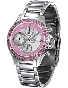 FIREFOX FFS177-190 rosa Damenuhr Edelstahl Chronograph Zirkoniasteine massiv Edelstahl Sicherheitsfaltschließe...