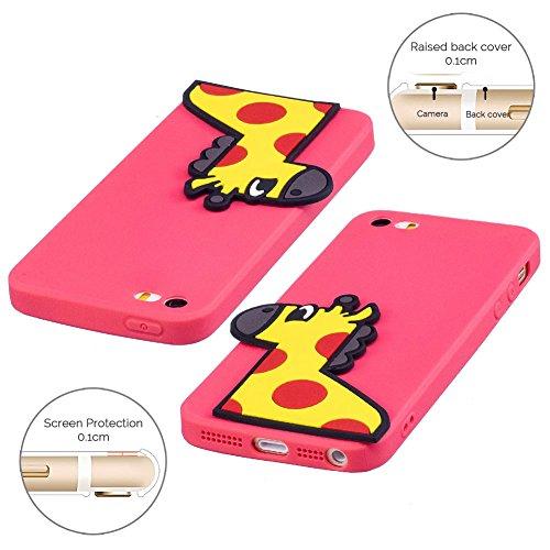 Cover iPhone 5S Spiritsun Case iPhone 5 Custodia iPhone SE Moda Ultraslim 3D Kawaii Diy Soft TPU Case Handy Cover High Quality Case Elegante Souple Flessibile Liscio Copertura Perfetta Protezione Shel Cervo rosso