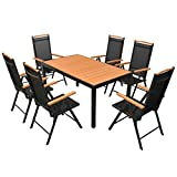 lingjiushopping 7Stück Set von Gartenmöbel aus WPC Material der Tischplatte: Oberfläche aus Holz Composite (WPC) + 100% Aluminium, Rahmen Pulverbeschichtet Gartenmöbel-Set