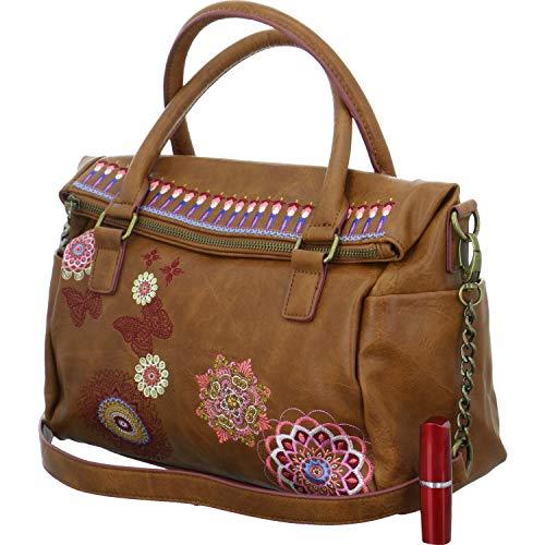 Desigual Chandy Loverty Hand Bag MarronDatos:o Material: 100% poliuretano, interior 100% poliéster.o Dimensiones: Anchura de unos 30 cm, altura de unos 23 cm, profundidad de unos 11 cmo Color: Marron (marrón / azul / rosa)o Fabricante: Desigual