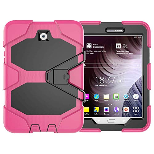amsung Galaxy S2 8.0, Hybrid Armor Design TPU Silikon & Hart Polycarbonat Bumper Backcover Case Schutzhülle für Galaxy Tab S2 8.0 Zoll Tablet hülle mit Kickstand (Rose rot) ()