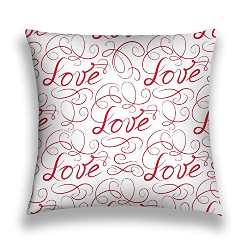 NDJHEH Kissenbezüge Throw Pillow Cover Pillowcase Love Doodle Ornamental calligraphic Vignette b Swirl Handwritten Lettering Paintings Sofa Home Decorative Cushion Case 18