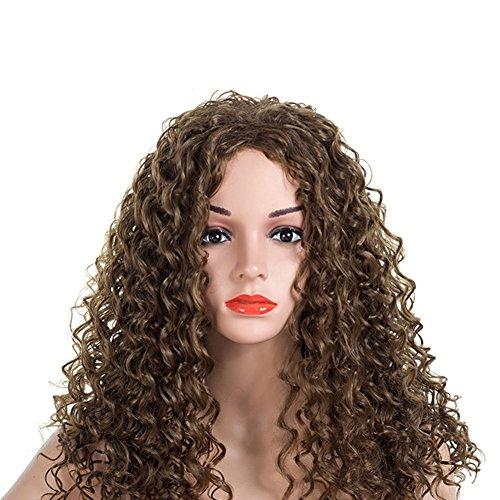 SHUAIGE Frauen Perücken African Black Kleine Volumen Explosion Kopf Schwarz Braun Lange Haare Urlaubsparty Cosplay Weibliche Chemische Faser Perücke Perücke 59 cm * 278G, Brown