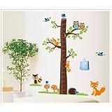 Mzy LLC (TM)–Gráfico de crecimiento para hacer medidor de altura Decoración de vinilo decorativo para pared, diseño de bosque para guardería infantil dormitorio habitación de un niño