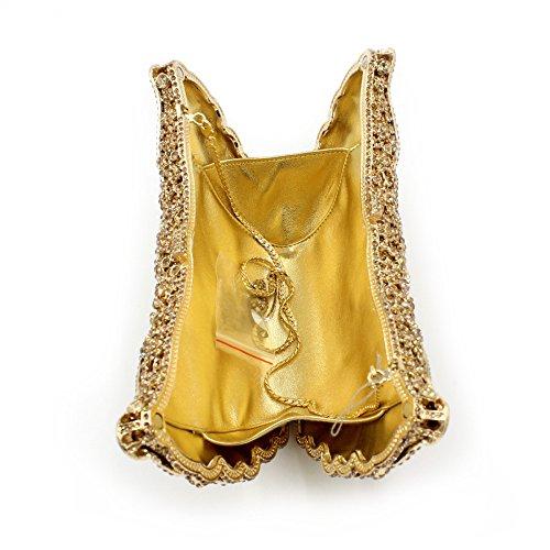 Il lusso degli strass Butterfly Borse sera Ladies preferito borsetta party di nozze portamonete frizione telaio metallico golden