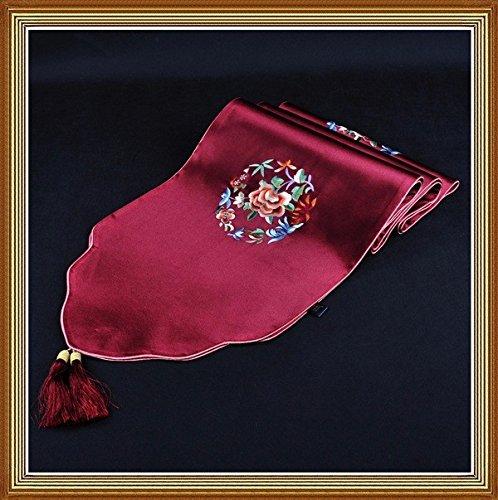 LINA-Di stile europeo tabella di lusso bandiera cinese moderno minimalista tavolino bandiera colore pieno fiore ricamo tovaglia tovaglie ,33*196cm,vino rosso