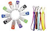 FEBNISCTE 10 Stück 2GB USB Stick Einklappbarer USB 2.0 Speicherstick (Rot,Grün,Schwarz,Blau,Violett)