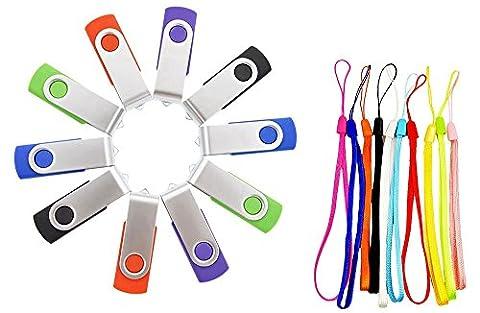 FEBNISCTE 10 Pièce Clé USB 8 Go Mémoire Flash Rotation Disque USB 2.0 (Couleur Mixte: Rouge Vert Noir Bleu et Violet)