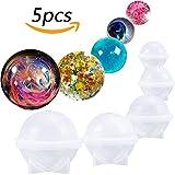 Tenlife - Molde de silicona para bola de esfera redonda de resina epoxi, joyería, vela, jabón casero, manualidades, 5 tamaños
