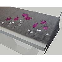 Tischläufer Blumen Grau | Tischdecke, Tischschmuck