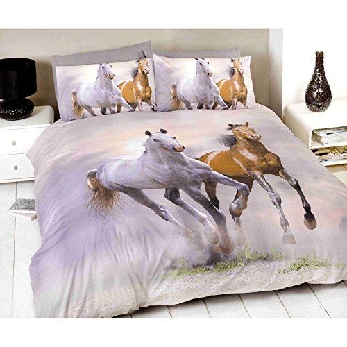 Weiße und braune Galopp laufenden Pferd Druck einzigen Bettbezug-Set inkl. 1 x Kissenbezug. 135cm x 200cm Bettbezug.
