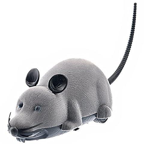 LUOEM Beängstigend Fernbedienung Batteriebetriebene Prank Spielzeug Simulation Plüschmaus Mäuse Katze Hund Geschenk grau
