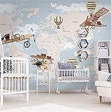Papier peint mural 3D ou fresque sur le mur carte du monde en gros et voyage en avion pour chambre d'enfant chambre d'enfant et chambre d'enfant,350x250cm