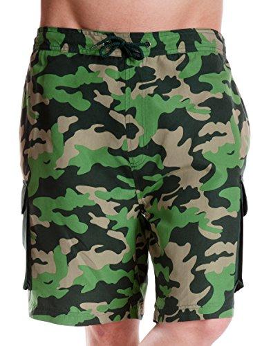 Tom Franken Camouflage Print Cargo Stil Swim Shorts Trunks Mesh Innenfutter Kordelzug grün groß - Lrg-print-shorts