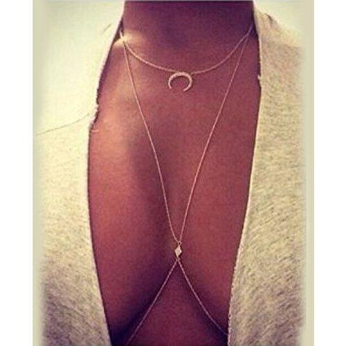 EQLEF® Collana catena della pancia del corpo del bikini delle donne nuove signore Luna diamante di cristallo di fascino Crossover trapezio a fascia