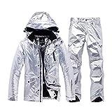 FELICIKK Tuta da Sci da Donna Snowboard Impermeabile Antivento Giacca e Pantaloni per la Neve da Pioggia Outdoor Hiking (Color : Silver, Size : M)
