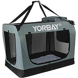 Yorbay Gabbia pieghevole/ Trasportino Morbido per animali domestici /Borsa per Cani e Gatti /Taglie S-XXXL e Colori diversi da scegliere. (L, grigio)