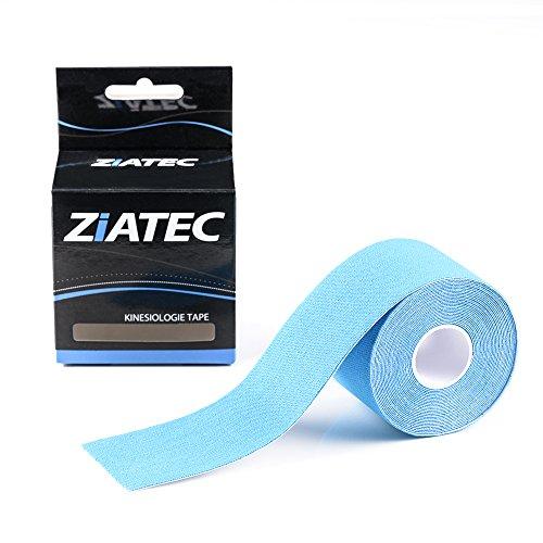 Ziatec Pro Kinesiologie Tape - Physio-Tape -Sport-Tape - elastische Bandage für Physiotherapie, Sport, Freizeit und Medizin. 100% gewebte Baumwolle, wasserresistent, Farbe:1 x blau ...