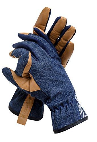 GardenGirl Leder Handschuhe Garten Größe 'L' Allround Denim Garten Frauen Damen