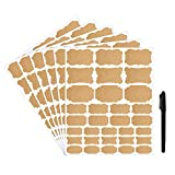 Etichette adesive Kraft 192 Etichette di barattoli rimovibili di Kumy con un pennarello indelebile, formati assortiti per decorare i regali fatti a mano Cucina Dispensa vasetti Contenitori bottiglie