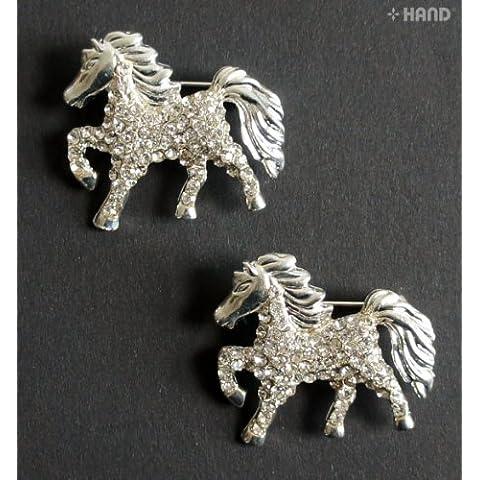 HAND BR21 paquete elegante hermoso caballo Broche de plata cristalino claro de 2