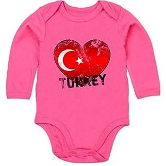 BZ30 Bio Baby Jungen Mädchen Strampler langarm ohne Bein – EM 2016 Frankreich Babys – Turkey Herz Grunge