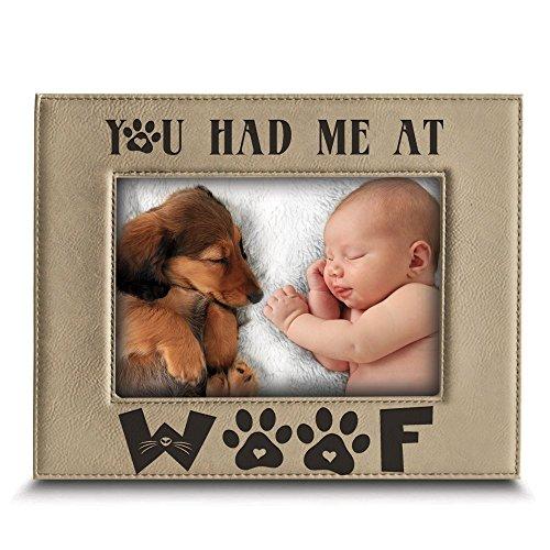 BELLA BUSTA You Had Me at Woof- Hundeliebhaber Gift-Dog Frame-Pet Frame-Engraved Leder Bilderrahmen 5