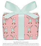 3er-Set Geschenkpapier Bögen für Kinder/Kindergeburtstag / Baby/Geburt Taufe mit WICHTELMÄNNCHEN in ROSA für Mädchen • Format : 50 x 70 cm
