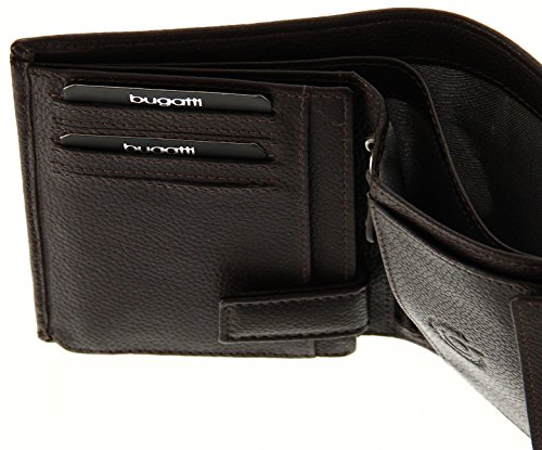 BUGATTI Echtleder Herren Portemonnaie im Hochformat, Hochwertige Brieftasche mit Klappfach aus echtem Leder, Braun Braun