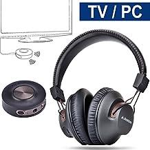 Avantree Auriculares Inalámbricos con Transmisor Bluetooth 3.5mm & RCA (NO OPTICA) para TV, Sin Retardo de Audio, LARGO ALCANCE, 40 Horas de Batería, PRE-EMPAREJADO, para PC / videojuegos - HT3189 [Garantía 24M]