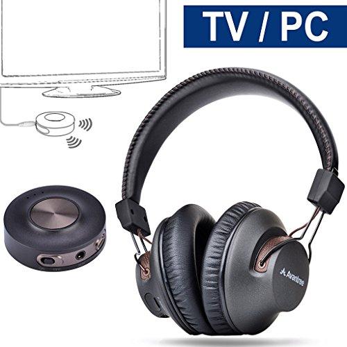 Avantree Funkkopfhörer für Fernseher mit Bluetooth Transmitter SET 3.5mm & RCA (Nicht Optischen), Plug & Play, Keine Verzögerungen mehr, HOHE REICHWEITE, 40 Stunden Akku, für TV / PC / Games - HT3189 [2 Jahre Garantie] (Wireless-tv-kopfhörer Set)