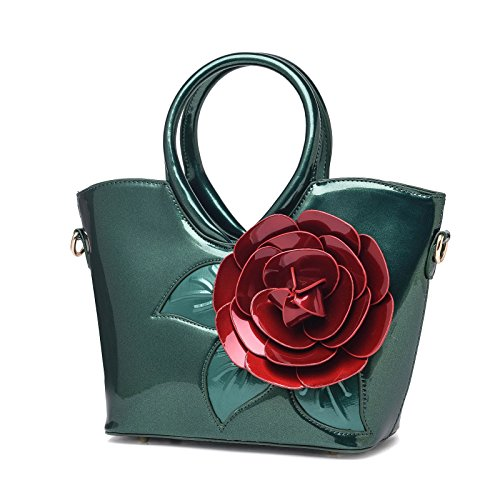 KAXIDY Lack-Leder Henkeltasche Taschen Handtaschen Schultertaschen Tasche Umhängetasche Grün