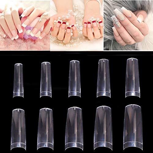 500 Stück Künstliche Fingernägel Ballerina Nagelspitzen French Falsche Nägel Muster Tips Nägel Clear Kunstnägel Tips ...